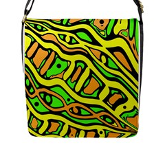 Yellow, green and oragne abstract art Flap Messenger Bag (L)