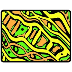 Yellow, green and oragne abstract art Double Sided Fleece Blanket (Large)