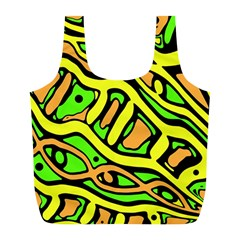 Yellow, green and oragne abstract art Full Print Recycle Bags (L)
