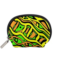 Yellow, green and oragne abstract art Accessory Pouches (Small)