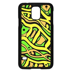 Yellow, green and oragne abstract art Samsung Galaxy S5 Case (Black)