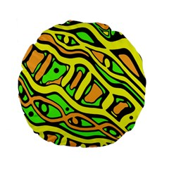 Yellow, green and oragne abstract art Standard 15  Premium Flano Round Cushions