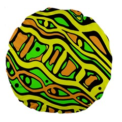 Yellow, green and oragne abstract art Large 18  Premium Flano Round Cushions