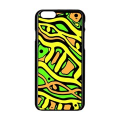 Yellow, green and oragne abstract art Apple iPhone 6/6S Black Enamel Case