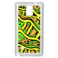 Yellow, green and oragne abstract art Samsung Galaxy Note 4 Case (White)
