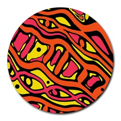 Orange hot abstract art Round Mousepads
