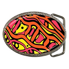 Orange hot abstract art Belt Buckles