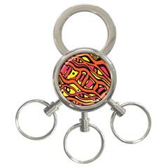 Orange hot abstract art 3-Ring Key Chains