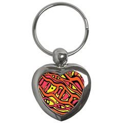 Orange hot abstract art Key Chains (Heart)