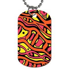 Orange hot abstract art Dog Tag (Two Sides)