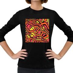 Orange hot abstract art Women s Long Sleeve Dark T-Shirts