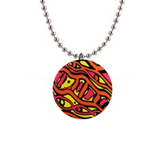 Orange hot abstract art Button Necklaces