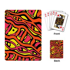 Orange hot abstract art Playing Card