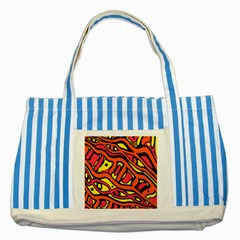 Orange hot abstract art Striped Blue Tote Bag