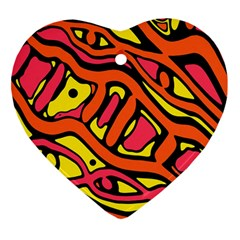 Orange hot abstract art Heart Ornament (2 Sides)