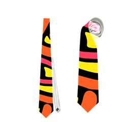 Orange hot abstract art Neckties (Two Side)