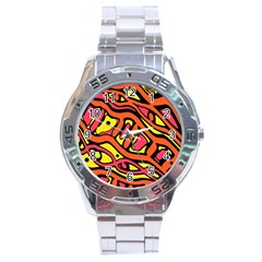 Orange hot abstract art Stainless Steel Analogue Watch