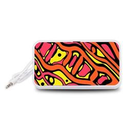 Orange hot abstract art Portable Speaker (White)