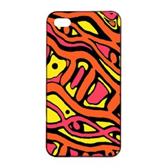 Orange hot abstract art Apple iPhone 4/4s Seamless Case (Black)