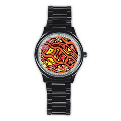 Orange hot abstract art Stainless Steel Round Watch