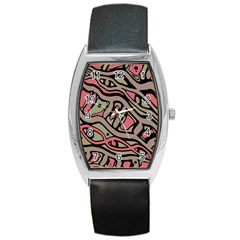 Decorative abstract art Barrel Style Metal Watch