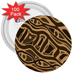 Brown abstract art 3  Buttons (100 pack)