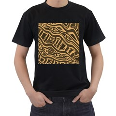 Brown abstract art Men s T-Shirt (Black) (Two Sided)