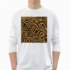 Brown abstract art White Long Sleeve T-Shirts