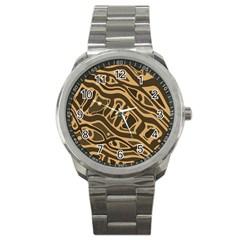 Brown abstract art Sport Metal Watch