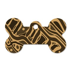 Brown abstract art Dog Tag Bone (Two Sides)