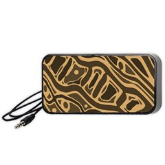 Brown abstract art Portable Speaker (Black)