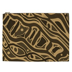 Brown abstract art Cosmetic Bag (XXL)