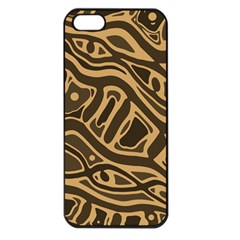 Brown abstract art Apple iPhone 5 Seamless Case (Black)