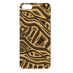 Brown abstract art Apple iPhone 5 Seamless Case (White)