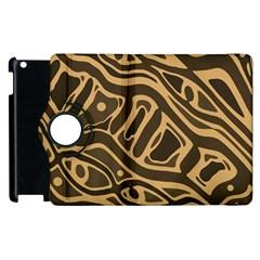 Brown abstract art Apple iPad 3/4 Flip 360 Case