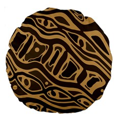 Brown abstract art Large 18  Premium Round Cushions