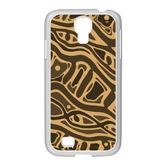 Brown abstract art Samsung GALAXY S4 I9500/ I9505 Case (White)