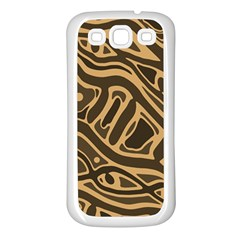 Brown abstract art Samsung Galaxy S3 Back Case (White)