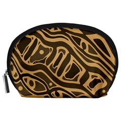 Brown abstract art Accessory Pouches (Large)