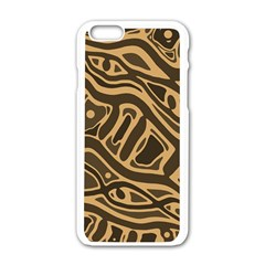 Brown abstract art Apple iPhone 6/6S White Enamel Case