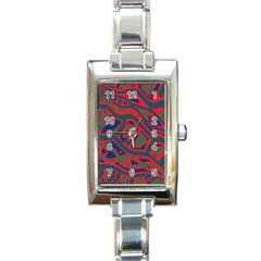 Red and green abstract art Rectangle Italian Charm Watch
