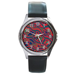 Red and green abstract art Round Metal Watch