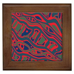 Red and green abstract art Framed Tiles