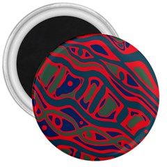 Red and green abstract art 3  Magnets