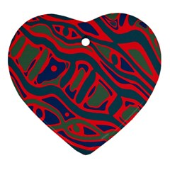 Red and green abstract art Ornament (Heart)