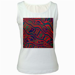 Red and green abstract art Women s White Tank Top