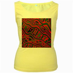 Red and green abstract art Women s Yellow Tank Top