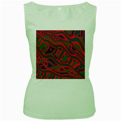 Red and green abstract art Women s Green Tank Top