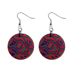 Red and green abstract art Mini Button Earrings