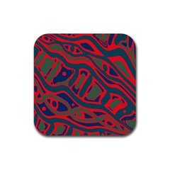 Red and green abstract art Rubber Square Coaster (4 pack)